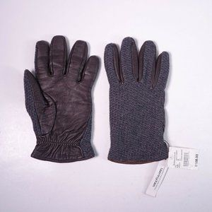 Bloomingdale's Woven Cashmire Leather Gloves